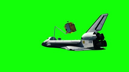 Fotomurales - Space Shuttle Deploying Communication Satellite. Green Screen. 3D Animation.