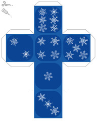Snow flake dice template - do it yourself model of a cube with snowflakes instead of dice eyes - isolated vector illustration over white.