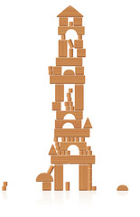 Wooden tower building made of toy blocks - many different natural wood elements - a typical childhood concentration game. Vector on white background.