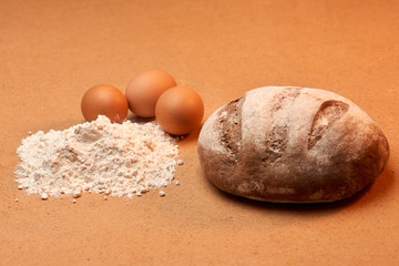 bread with eggs and flour
