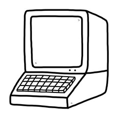 retro computer / cartoon vector and illustration, black and white, hand drawn, sketch style, isolated on white background.