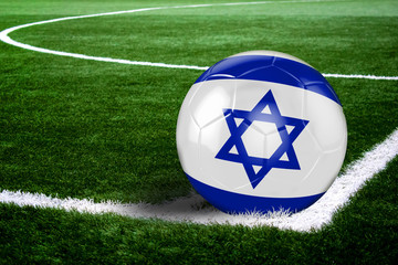 Israel Soccer Ball on Field at Night