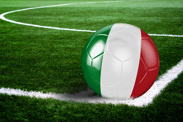 Italy Soccer Ball on Field at Night