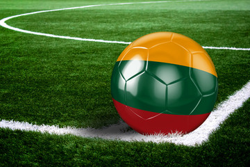 Lithuania Soccer Ball on Field at Night