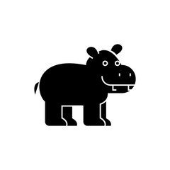 hippo cute icon, illustration, vector sign on isolated background