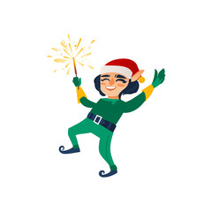 vector flat cartoon hand drawn christmas elf boy dancing or jumping smiling raising hands up with sparkler. Fairy holiday character in christmas santa hat. Isolated illustration on a white background