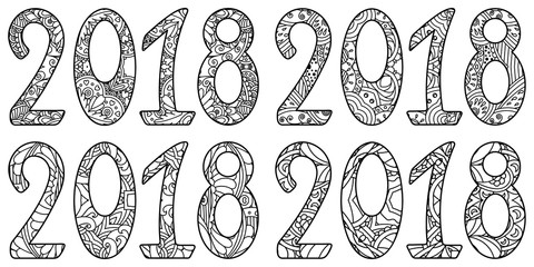 Set of new year numbers 2018 with ornament. Decorative vector design for coloring books, art therapy, antistress, greeting cards.