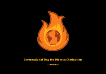 International Day for Disaster Reduction vector. Earth in flames vector. Important day
