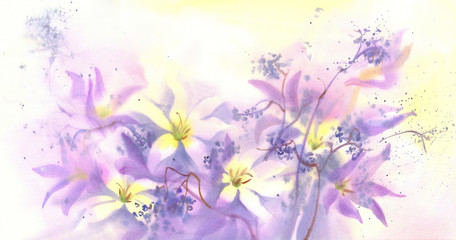 colchicum with black berries watercolor