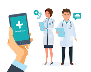 Healthcare mobile service. Mobile consultant. Hand holding smartphone with application.
