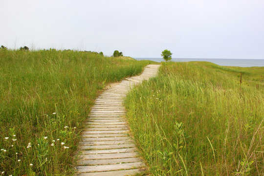 Kohler-Andrae State Park. Summer landscape with hiking trail through sand dunes lead to the lake Michigan beach. Nature of Wisconsin background. Travel midwest USA. Summer nature background.