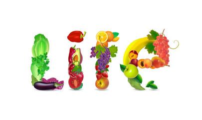Health food and vegetarian logo. Vector illustration.