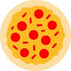 lecker pizza rund groß comic cartoon clipart salami paprika