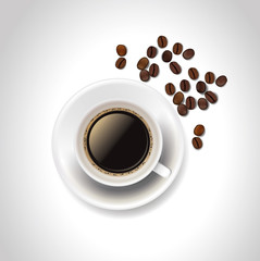 Vector realistic coffee cup and coffee beans on white background.