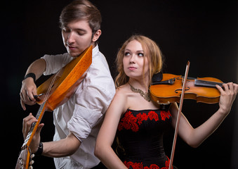 Musical couple with violin and balalaika