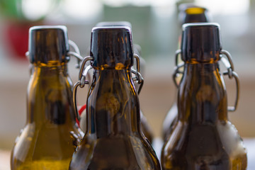 Close up of empty beer bottles. Shallow depth of focus. Concept Save the planet, recycle. 