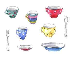 Watercolor set of dishes