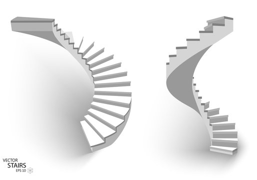 White Spiral staircase, 3d staircases. Set, Isolated on white background. EPS10