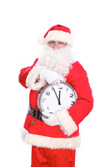 Kind Santa Claus pointing to clock, isolated on white background