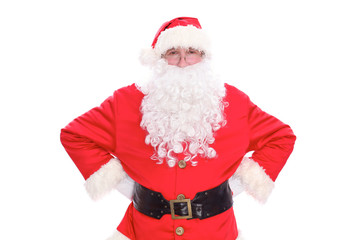 Kind Santa Claus portrait standing, isolated on white background