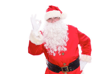 Kind Santa Claus showing ok, isolated on white background
