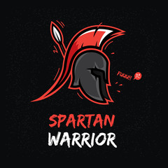 T-shirt design with spartan helmet. Fitness / martial arts theme.