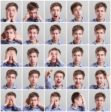Set of twenty five pictures of young man with different gestures and emotions