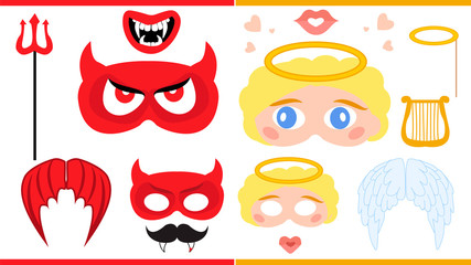 Angel and devil. Printable photo booth props.
