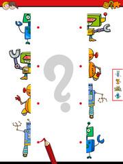 match halves of robots cartoon game