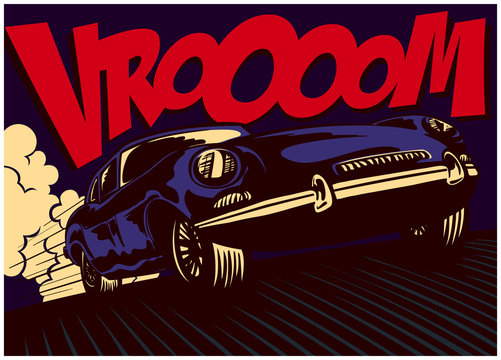 Pop art comic book style fast sport car driving at full speed with vrooom onomatopoeia vector illustration poster design