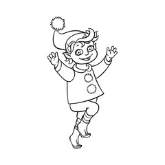 vector flat monochrome christmas elf boy dancing or jumping smiling raising hands up. Fairy holiday character in christmas santa hat. Isolated illustration on a white background for coloring book