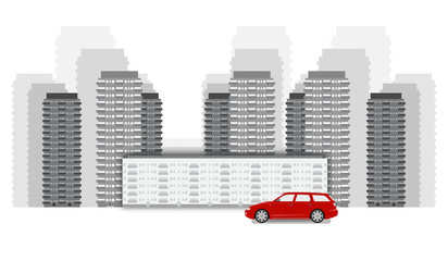 Cityscape flat vector illustration in monochrome black and white colors, red car standing near the buildings, vector illustration. Modern down town isolated on white background.