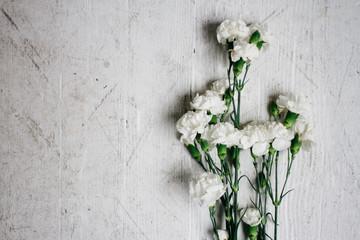 white carnation flower on wood grain floor ground surface
