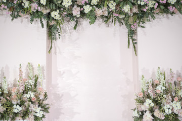 pink wedding flower and decoration.