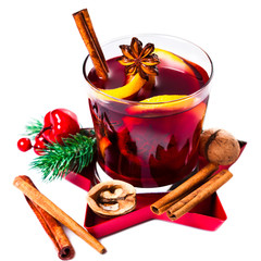 Christmas mulled wine isolated on white background. Red Hot  wine or gluhwein with spices,