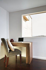 Desk with computer in luxury home