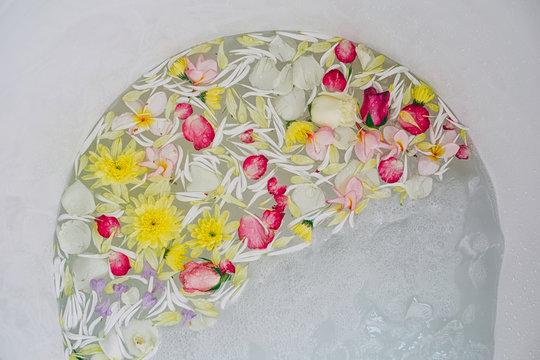 Flowers Floating in Bathtub