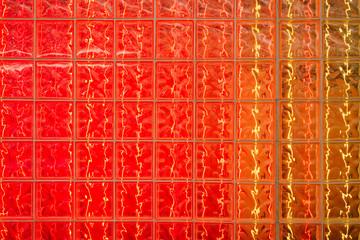 Illuminated colourful glass wall