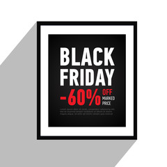 Black Friday sale poster on wall. Sale 60% off sitewide. Black banner in flat style. Shopping online. Advertising banner