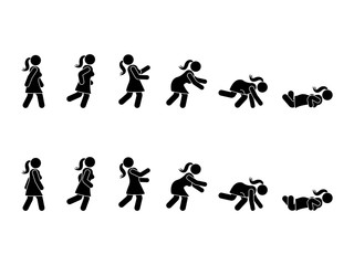 Walking woman stick figure pictogram set. Different positions of stumbling and falling icon set symbol posture on white