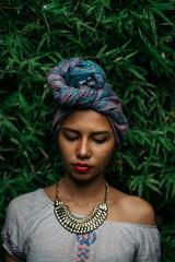 Portrait of a Beautiful Stylish Woman with Turban
