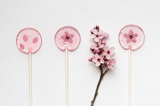 Homemade cherry blossom lollipops