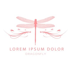 Dragonfly Logo Design Template. Vector illustration of pink dragonfly icon with With beautiful calligraphic patterns. Insects graphic design logo, label, badge, sticker, emblem, sign, identity.