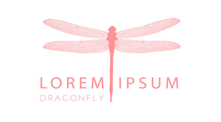 Business card or visiting card template with pink dragonfly logo element. Vector design editable layout Insect. Stylish line dragonfly bug. For logo, label, emblem, shop, florist, beauty salon. Vector