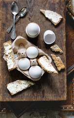 Boiled duck eggs and toast.