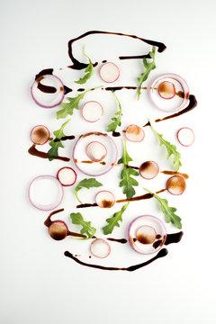 Decontructed Argula, Radish and Red Onion Salad
