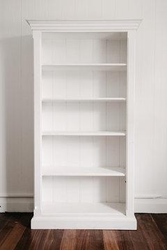 empty white bookcase