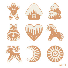 Set of Christmas gingerbread with glaze drops. Xmas icons isolated on white background.