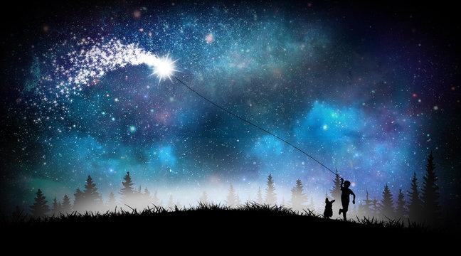 Boy flying magical kite silhouette art
