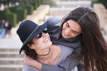 happy women in Barcelona